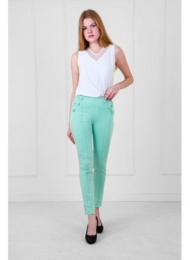 JEANNE D'ARC Düğme Detaylı Dar Paça Pantolon Yeşil